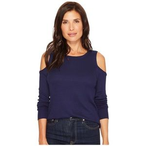 SANCTUARY BOWERY THERMAL BARE SHOULDER BLUE TEE